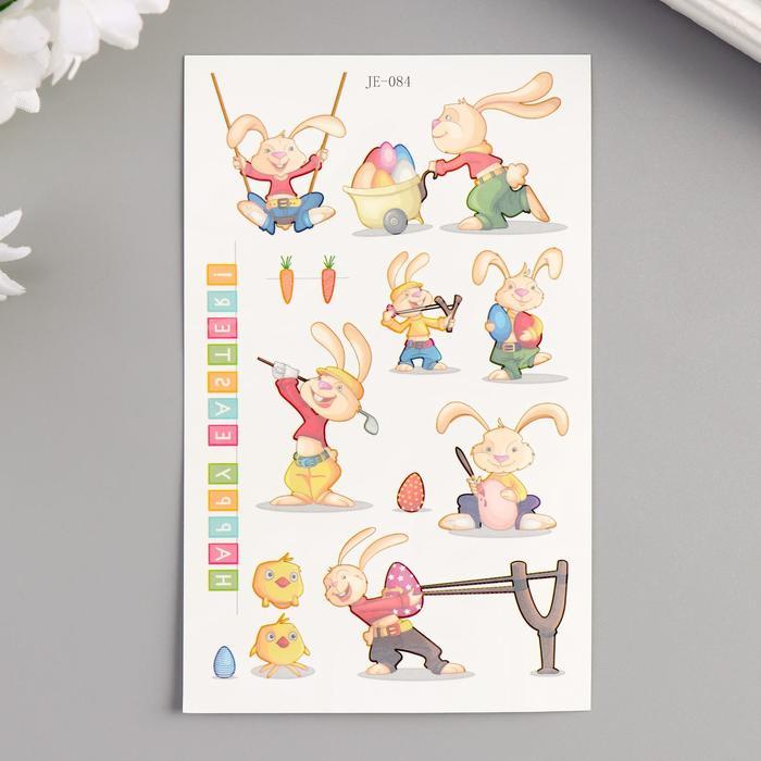 """Татуировка на тело цветная """"Зайчики и яйца"""" 12х7,5 см"""