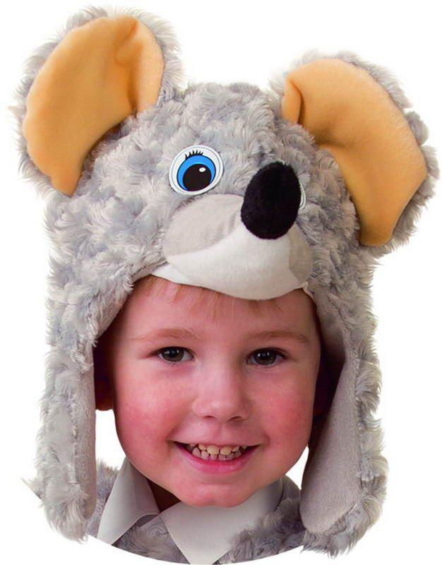Карнавальная шапка Мышонок из искусственного меха с ушками
