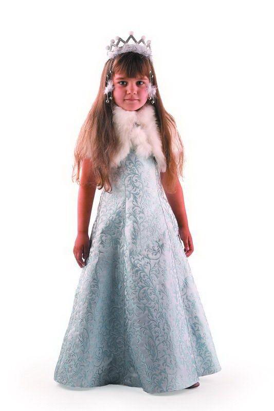 Снегурочка Жемчужная (детская) размер 122-64 176 (Платье, манто, корона)