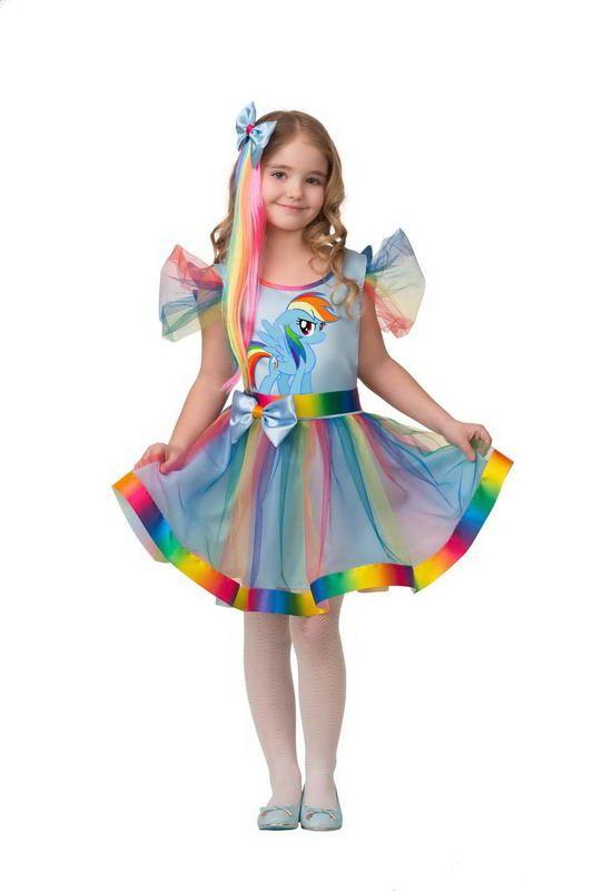 Карнавальное платье для девочки Радуга Дэш, размер 104-52