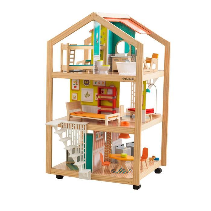 Кукольный домик «Ассембли», с мебелью 42 элемента, на колесиках