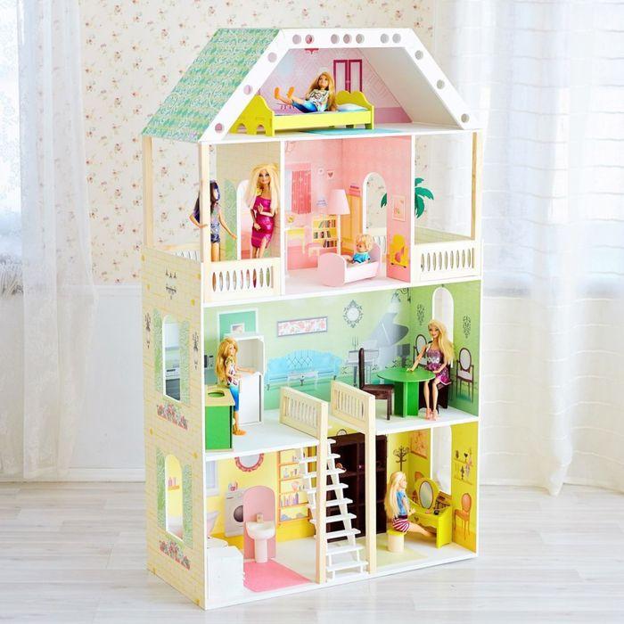 Четырёхэтажный домик для куклы «Поместье Шервуд» с 16 предметами мебели