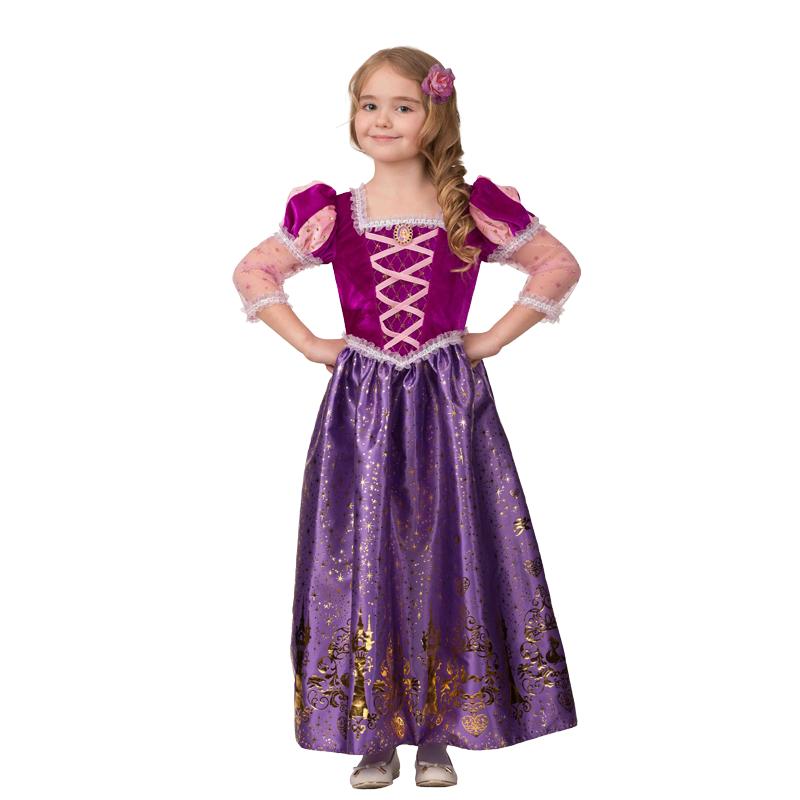 """Костюм карнавальный для девочек """"Принцесса Рапунцель"""" (Платье текстиль-принт) размер110-56"""