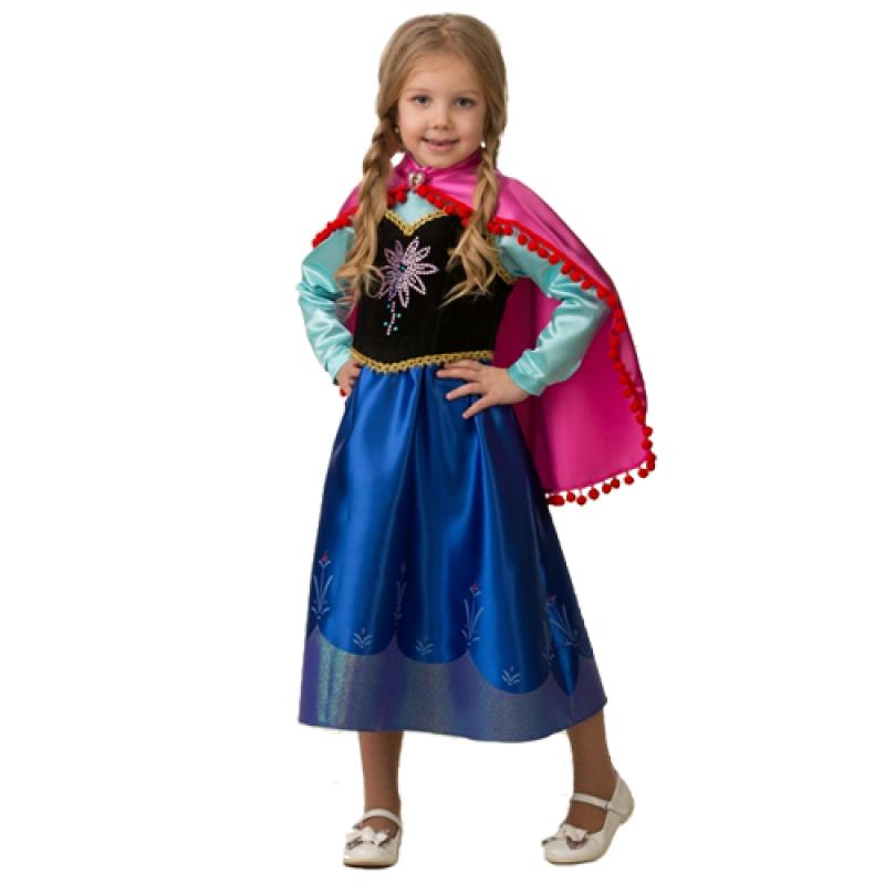 """Костюм карнавальный для девочек """"Анна"""" (Платье, накидка) размер 110-56"""