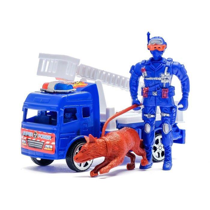 Машина инерционная «Пожарная», с пожарным и собакой, в ассортименте