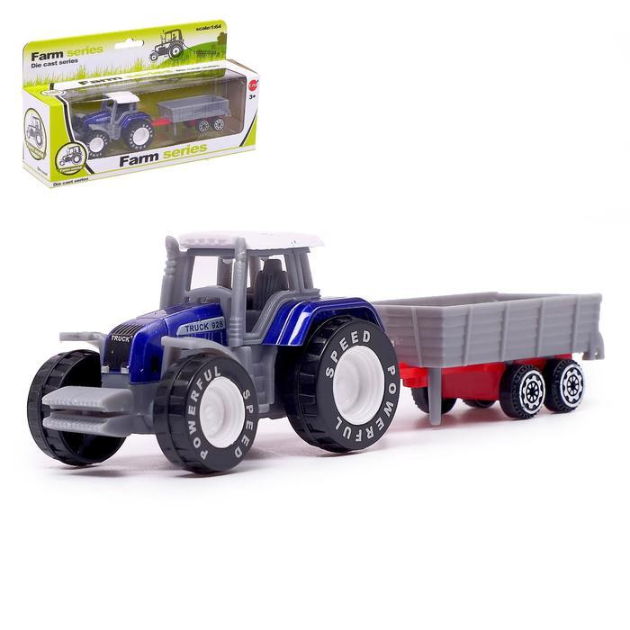 Трактор «Фермер» с прицепом, цвет синий