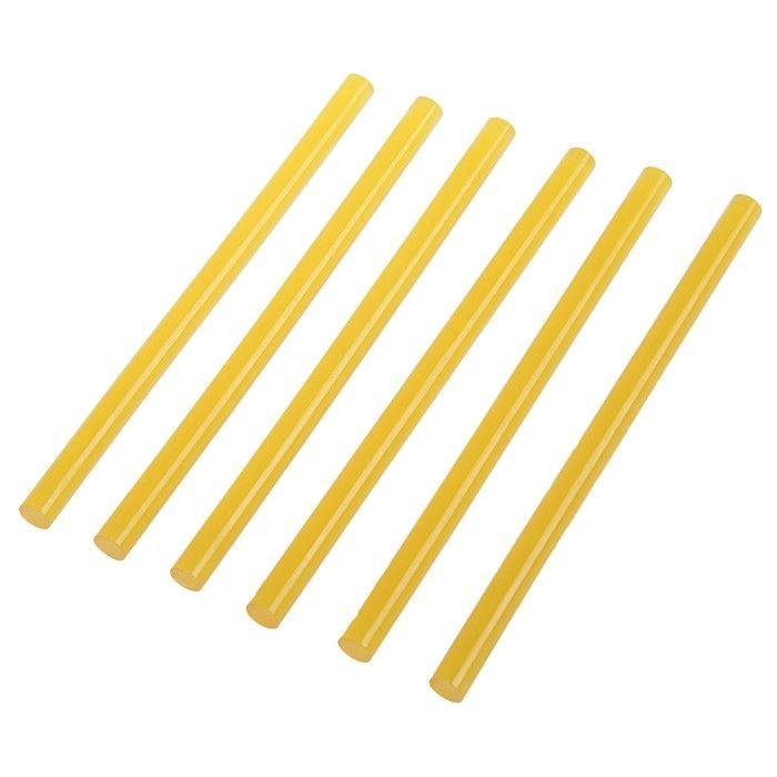 Клеевые стержни TUNDRA, 11 х 200 мм, желтые (по бумаге и дереву), 6 шт.