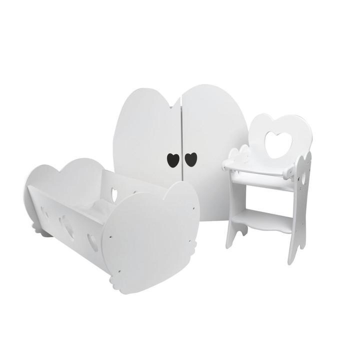 Набор кукольной мебели, 3 предмета, цвет: белый