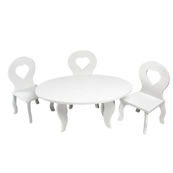 Набор мебели для кукол «Шик Мини»: стол + стулья, цвет: белый
