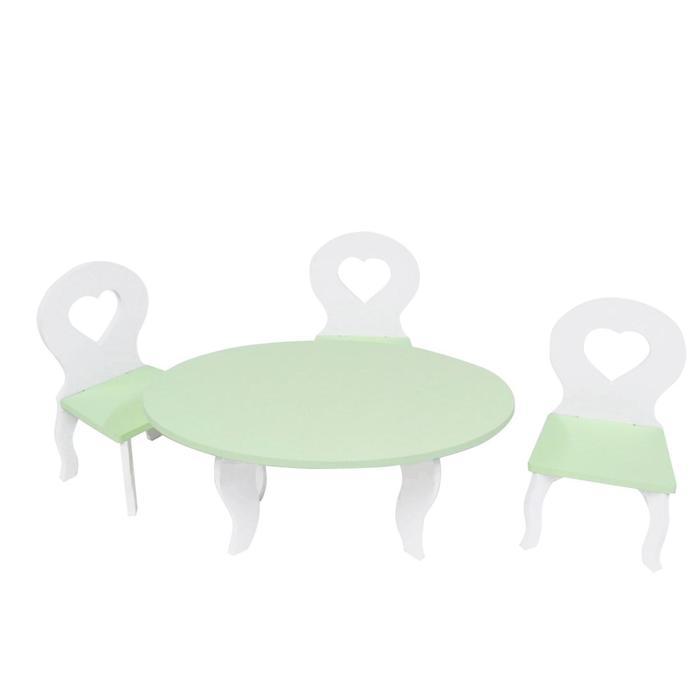 Набор мебели для кукол «Шик Мини»: стол + стулья, цвет: белый/салатовый