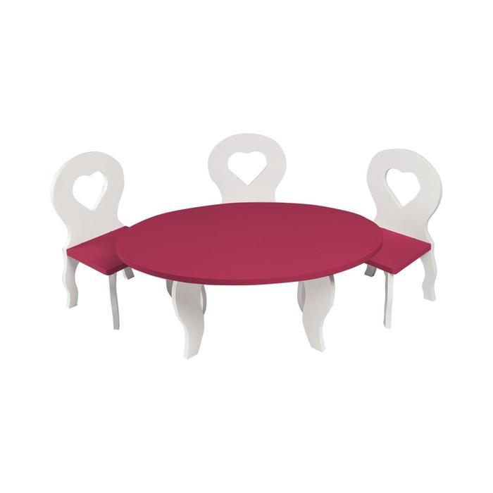 Набор мебели для кукол «Шик Мини»: стол + стулья, цвет: белый/ягодный