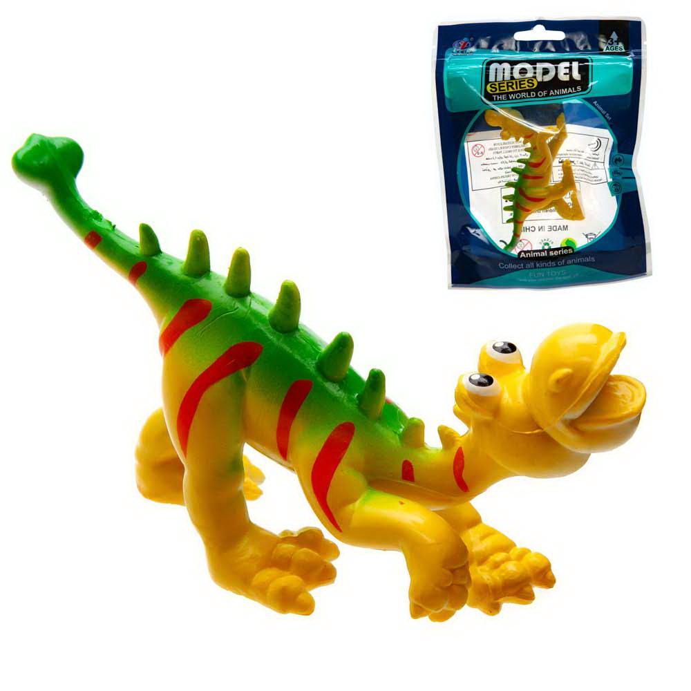 """Фигурка мини-животного """"Мультяшный динозаврик"""", цвет желто-зеленый с красными полосками"""