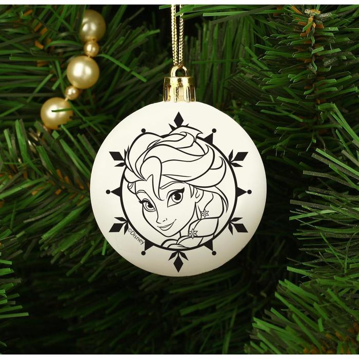 """Новогоднее елочное украшение под раскраску """"Эльза"""" Холодное сердце, размер шара 5,5 см"""