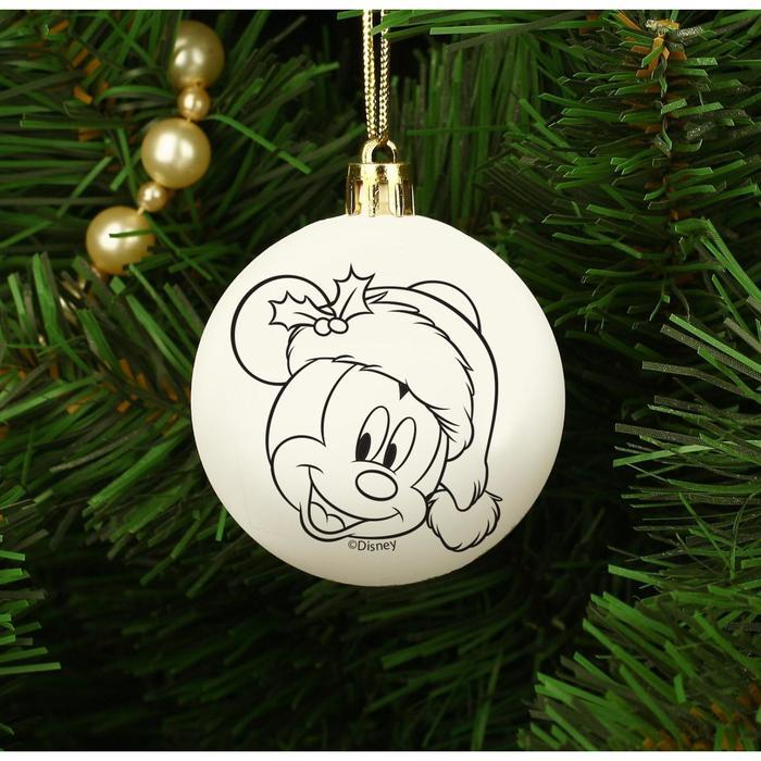 Новогоднее елочное украшение под раскраску Микки Маус, размер шара 5,5 см