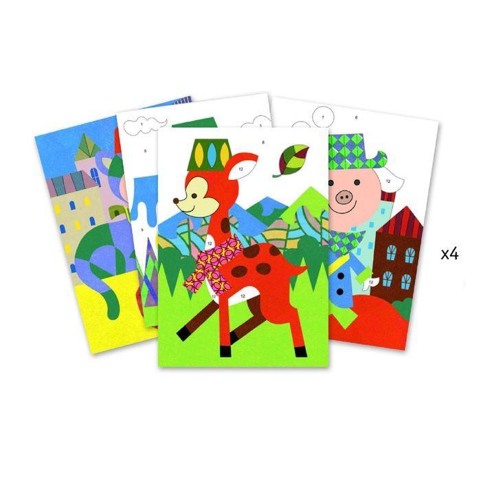 Картина песком «Панда и её друзья», 12 цветов, 4 листа