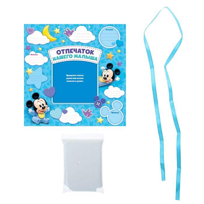 """Слепок ручки """"Отпечаток нашего малыша"""" Микки Маус с пожеланиями + атласная лента, масса для лепки"""