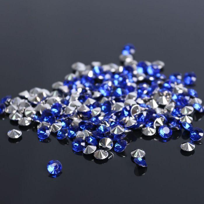 Стразы (набор 10грамм, 300шт), 5мм, цвет тёмно-синий №8