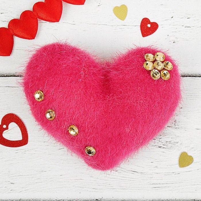 Мягкая игрушка-магнит «Сердечко пушистое», со стразами, цвета в ассортименте