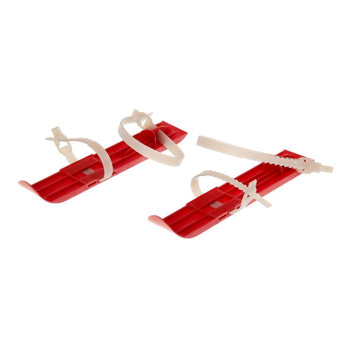 Мини-лыжи М4 с пластиковыми ремешками, цвет красный