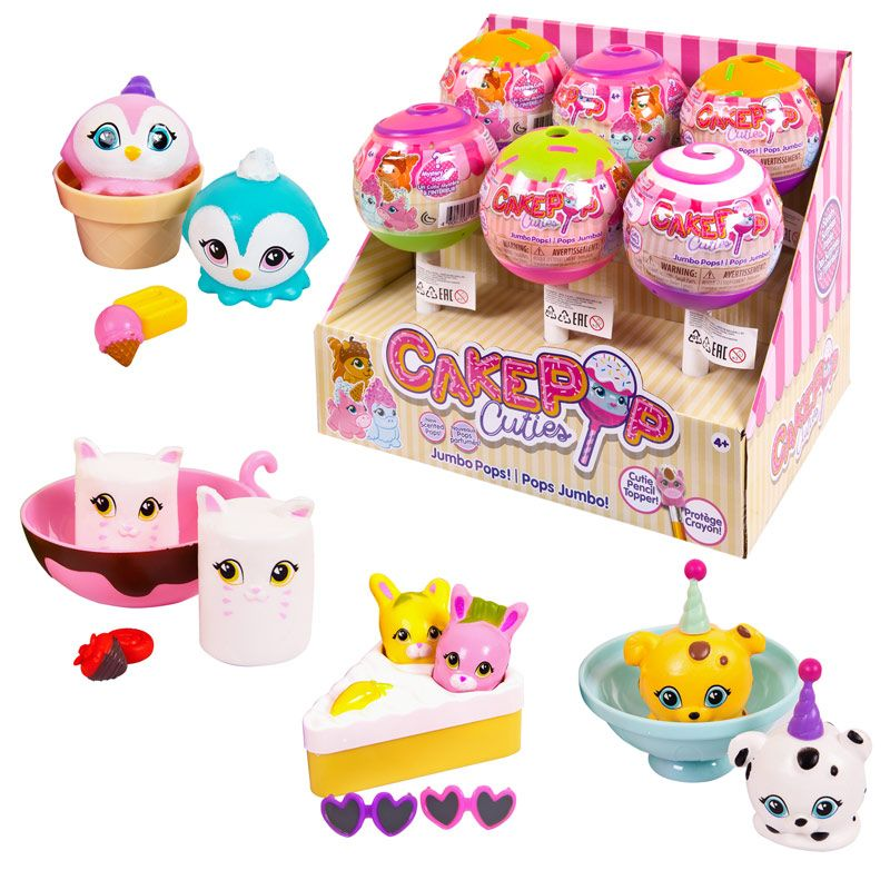 Игрушки CakePop Cuties в индивидуальной капсуле Jumbo Pop Single, 6 шт. в дисплее, 4 вида в ассортименте