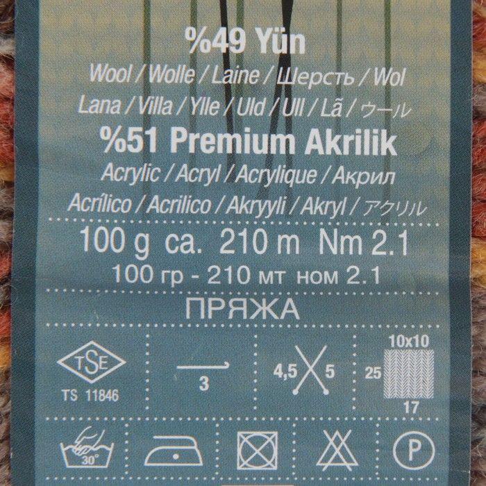 """Пряжа """"Nakolen Jakar"""" 49% шерсть, 51% премиум акрил 210м/ 100г (81204 принт)"""