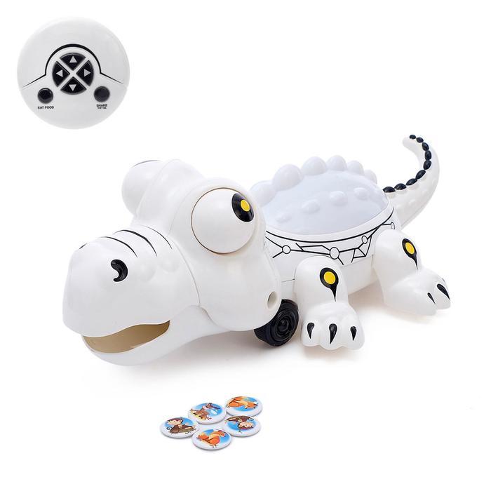 Робот радиоуправление «Крокодил», световые и звуковые эффекты, работает от батареек, цвет белый