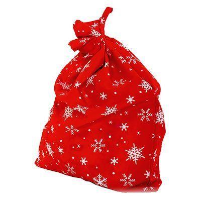 Мешок Деда Мороза, красный со снежинками