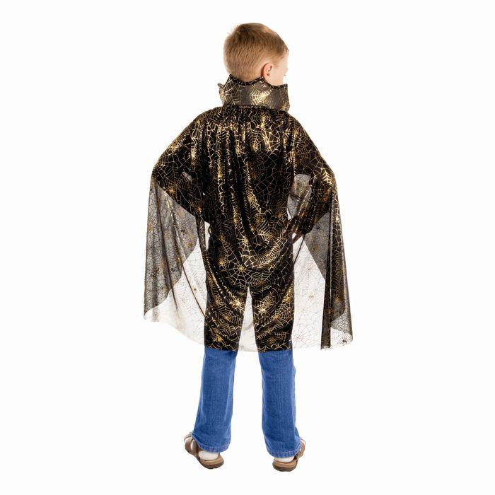 """Карнавальный плащ """"Паутина с пауком"""", фигурный воротник, длина 80 см, золото на чёрном"""