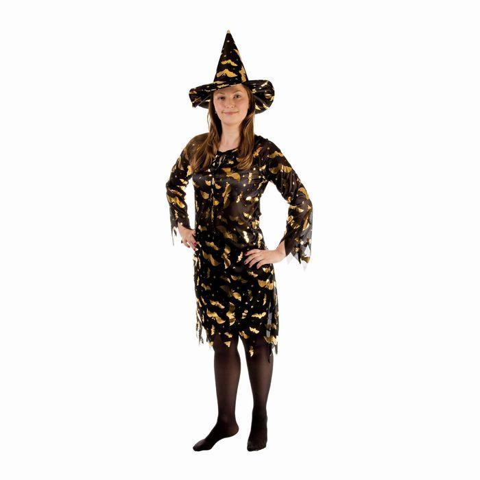 """Карнавальный костюм """"Ведьма"""", платье приталенное, шляпа, золото на чёрном, р-р 46-48"""