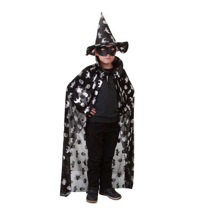 """Карнавальный костюм """"Летучие мыши, пауки, черепа"""", шляпа, плащ, серебро на чёрном, длина 120 см"""