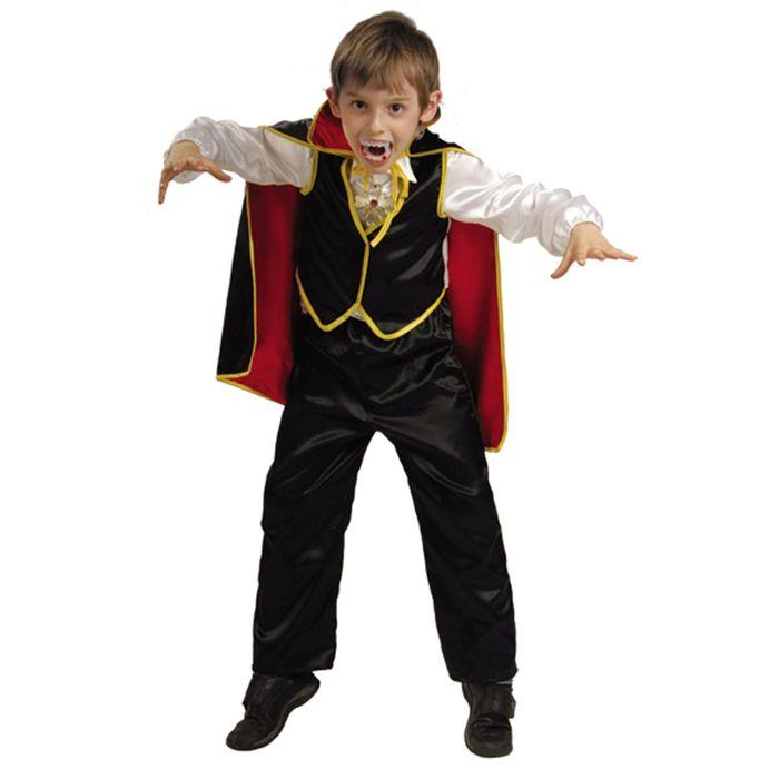 """Карнавальный костюм """"Дракула"""", текстиль, рубаха с жилетом, брюки, накидка, медальон, зубы цвета МИКС, р-р 34, рост 128 см"""