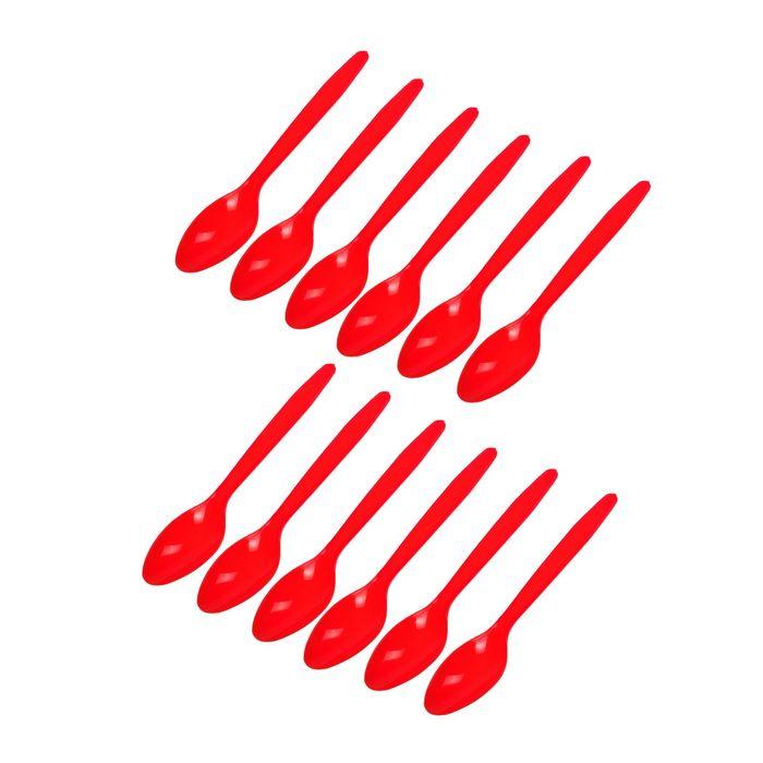 """Ложки пластиковые """"Делюкс"""" Красные (набор 12 шт)"""