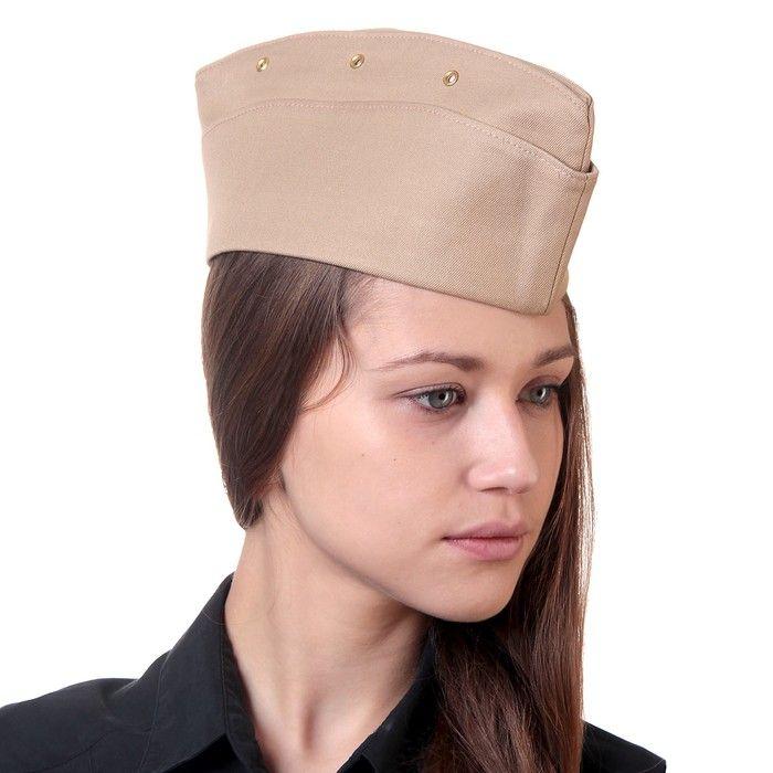 Пилотка офицерская, хлопок, фабричного производства СССР, р-р 53 см микс