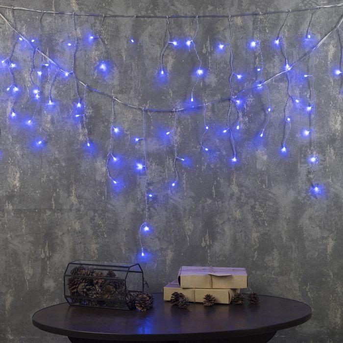 БАХРОМА, Ш:3 м, В:0.5 м, Н.С. LED-80-220V, 8 режимов, СИНИЙ