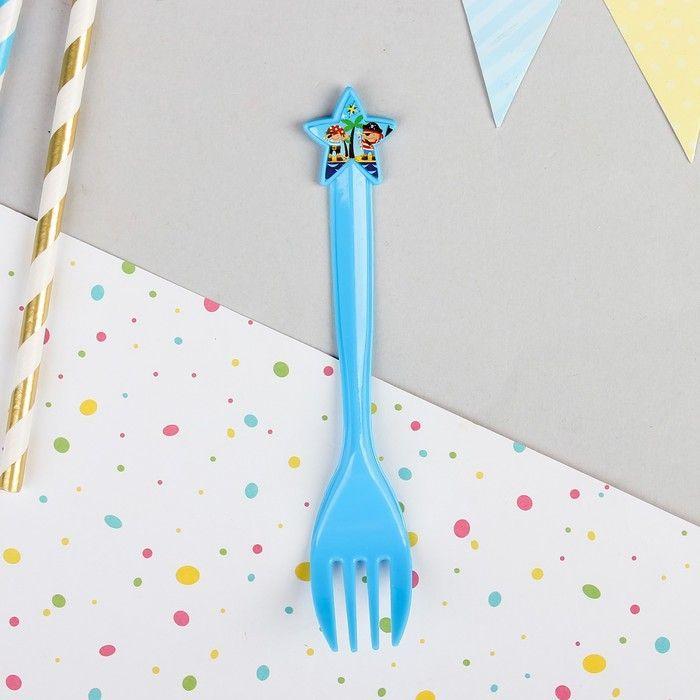 """Пластиковые вилки """"Пираты"""", набор 6 шт., цвет синий"""