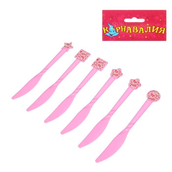 """Набор пластиковых ножей """"Бабочки"""", (набор 6 шт), цвет розовый"""