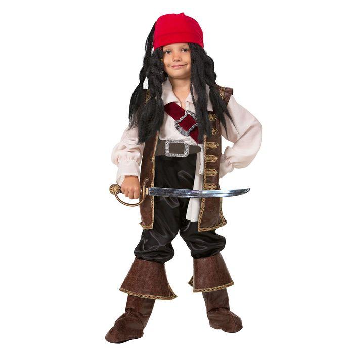 """Детский карнавальный костюм """"Капитан Джек Воробей"""", бархат, р-р 40, рост 158 см"""
