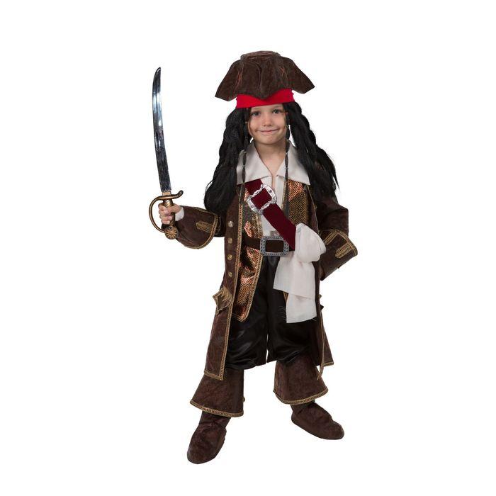 """Детский карнавальный костюм """"Капитан Джек Воробей"""", бархат и парча, р-р 30, рост 116 см"""
