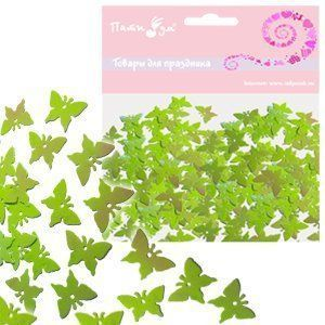 Конфетти перламутровое Бабочки салатовые 14гр