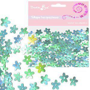 Конфетти перламутровое Цветы голубые 14гр
