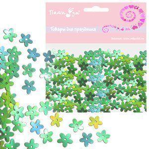 Конфетти перламутровое Цветы зеленые 14гр