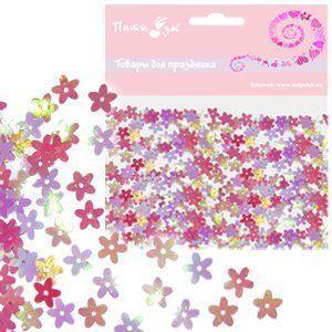 Конфетти перламутровое Цветы розовые 14гр