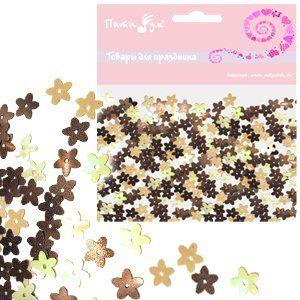 Конфетти перламутровое Цветы янтарные 14гр