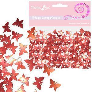 Конфетти фольгированное Бабочки красные 14гр