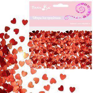 Конфетти фольгированное Сердца красные 14гр