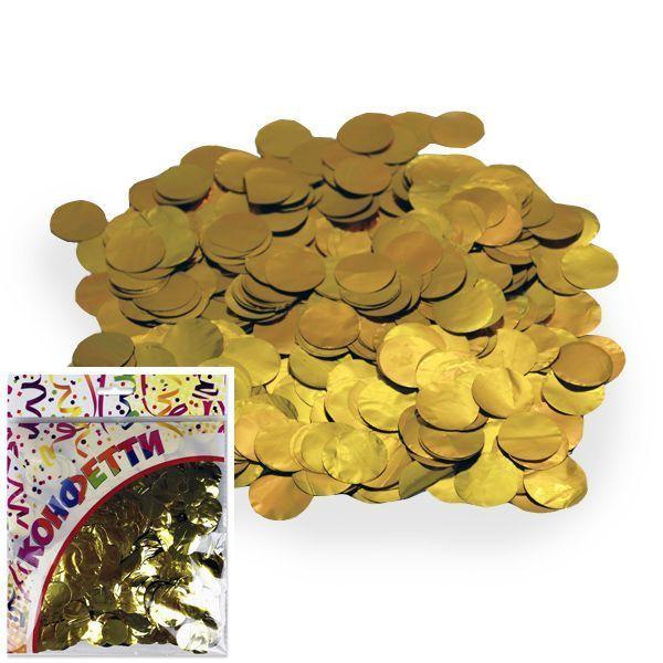 Конфетти фольгированное Круги золото 2см 100гр