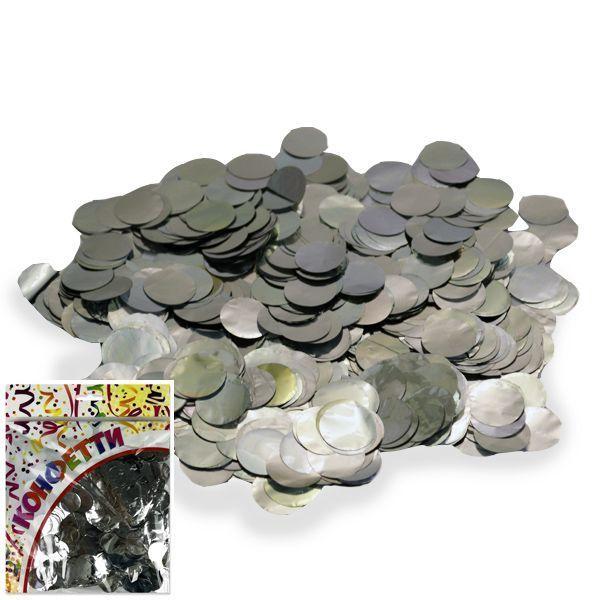 Конфетти фольгированное Круги серебро 2см 100гр