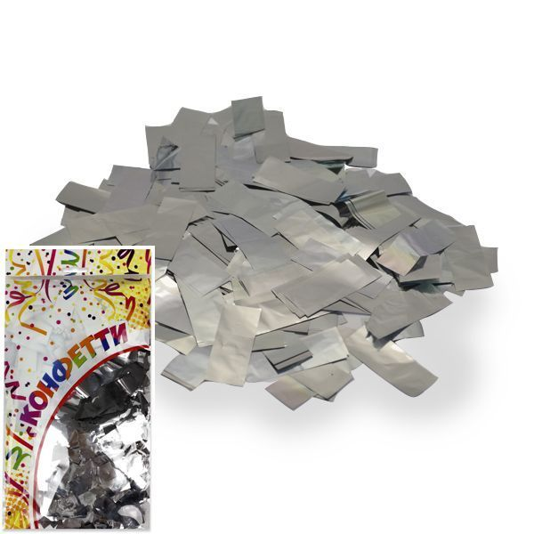 Конфетти фольгированное Прямоугольники серебро 2*5см 300гр