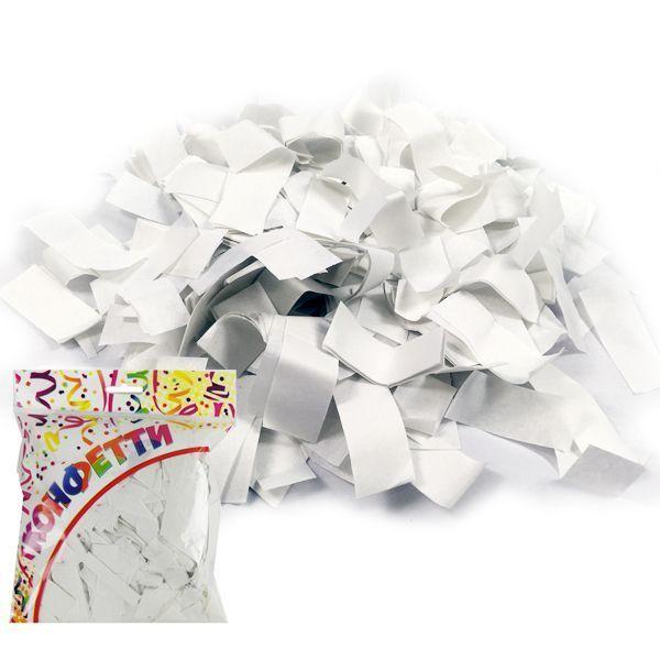 Конфетти бумажное Прямоугольники белые 2*5см 100гр