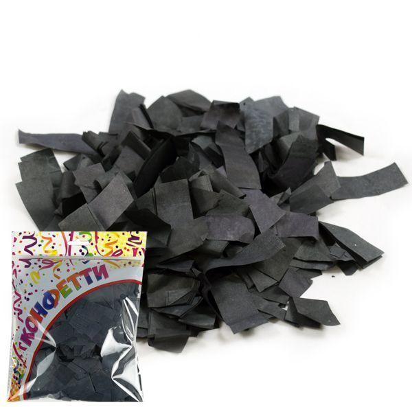 Конфетти бумажное Прямоугольники черные 2*5см 100гр